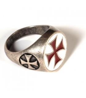 Anneau Templar Croix émaillée
