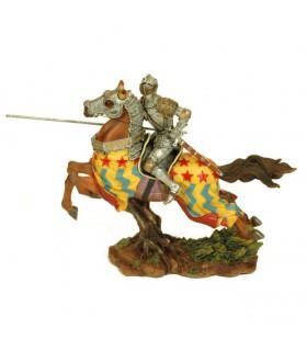 Figure chevalier médiéval à cheval,