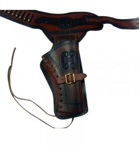 cartouchière en cuir pour un revolver (droitier)