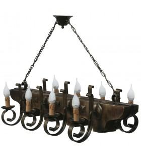 fer forgé et une lampe en bois 8 bras