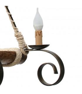 lampe en fer et en bois forgé 4 bras