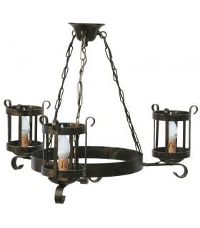 lampe de lanterne en fer forgé, 3 bras
