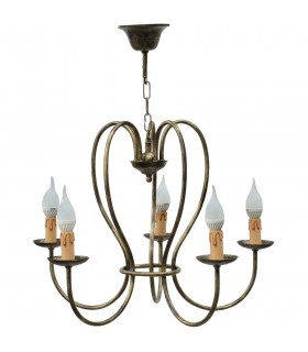 ronde forger lampe 5 branches