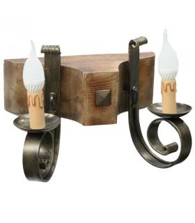 Appliquer bois et fer forgé, 2 ampoules