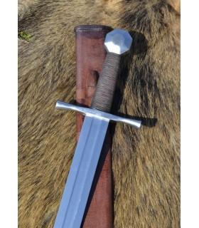 Bouton octogonale épée croisés, gainée