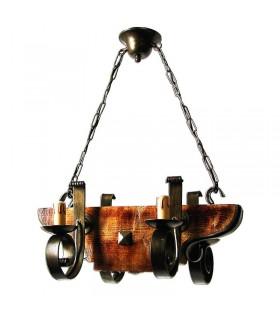 lampe de fer et de bois forgé 4 bras