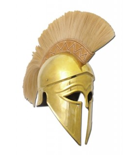 casque corinthien grec d'or panache