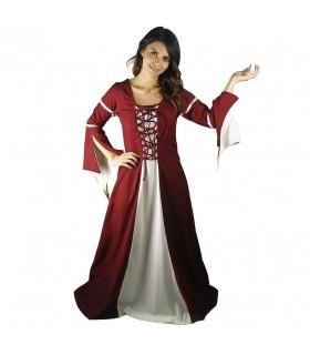 Femme en robe médiévale rouge-crème