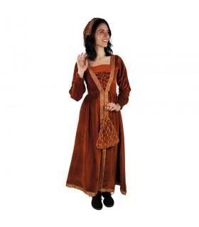 Femme en robe médiévale vert-blanc