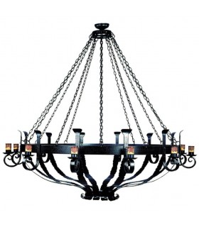 Lampe forge bois roue, 6 lumières