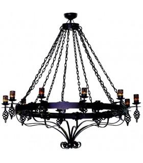 lampe en fer forgé de grandes chaînes, 12 lumières