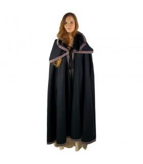 laine médiévale manteau capuche