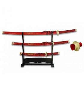 Katana, Wakizashi et Tanto rouge avec support laqué noir