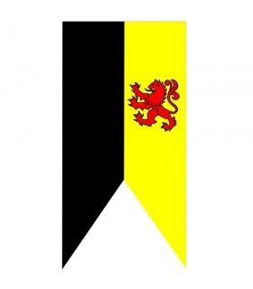 Bannière médiévale de lion bicolore