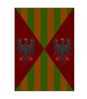 Bannière médiévale aigles et barres, différentes tailles
