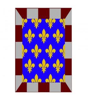 Bannière médiévale mosaïque fleur de lis, différentes tailles
