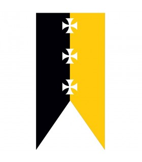 Croix de templiers noir-jaune bannière médiévale