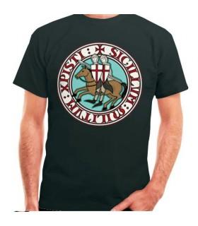 T-shirt noir Knights Templar, manches courtes