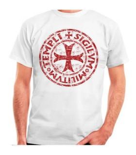 Camiseta blanca Cruz-Leyenda Templarios, manga corta