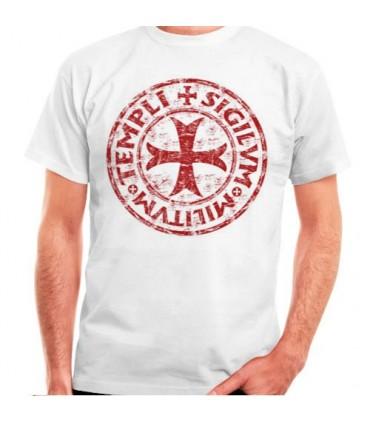 T-shirt blanc Cross-Legend Templar, manches courtes