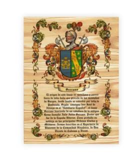 Armoiries, 1 Nom de famille sur bois (30x40 cms.)