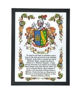 Boîte héraldique des armoiries 1 nom de famille (32,5x42,5 cm.)
