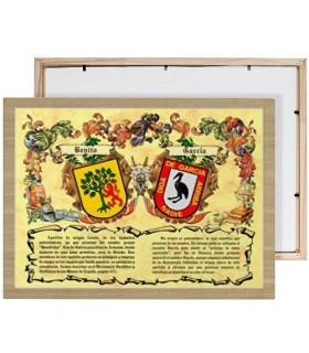 Cuadro escudos heráldicos 2 apellidos (30x40 cms.)