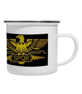 Coupe en laiton émaillé Vintage Légion Romaine SPQR