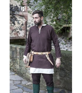 Tunique Médiévale Erik marron à manches longues