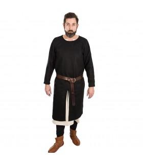 Tunique Médiévale Everard noir à manches longues