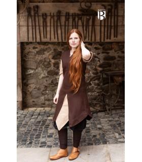 Tunique femme Meril, laine brune