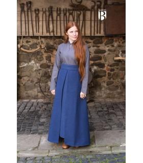 Jupe médiévale Simple, en coton bleu