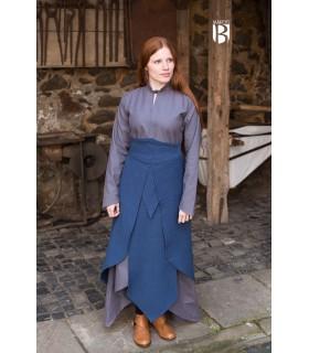 Jupe médiévale Tharya, bleu coton