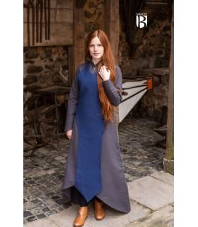 Tablier médiévale Isa, bleu coton