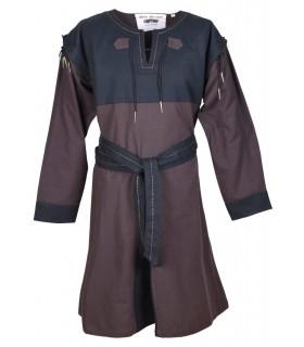 Robe Médiévale Brun-Noir avec manches amovibles