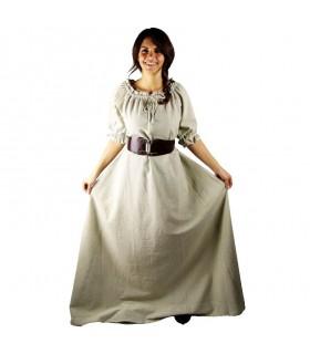 Robe médiévale Karen, naturel, blanc