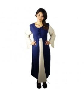 Robe médiévale en coton bleu foncé