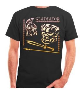 T-shirt noir Gladiateur et Romaine, de manches courtes