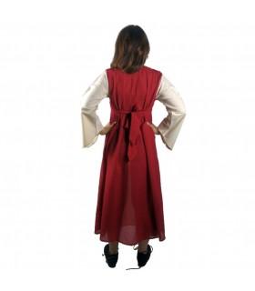 Robe médiévale en coton-rouge-crème