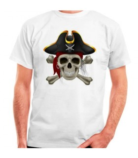 T-shirt blanc Pirate manches courtes
