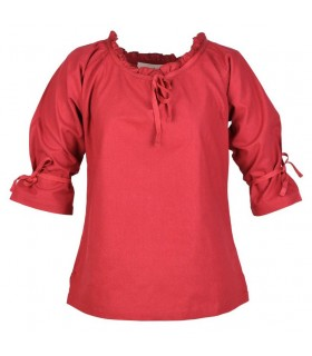 Chemisier médiéval femmes Birga, rouge