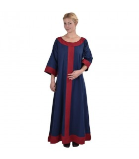Robe médiévale Gudrun, bleu-rouge