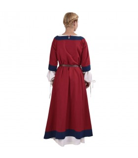 Robe médiévale Gudrun, rouge-bleu