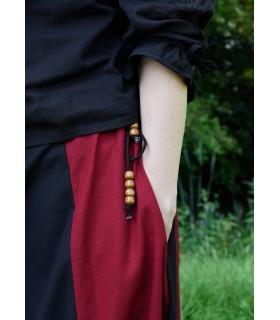 Jupe médiévale à long rouge-noir