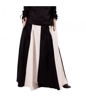 Jupe médiévale à long blanc-noir