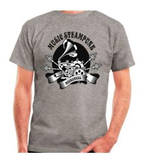 T-shirt Gris de SteamPunk, de manches courtes