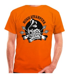 T-shirt Orange de SteamPunk, de manches courtes