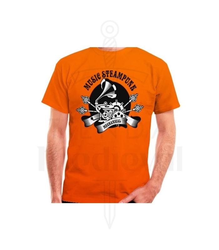 T-shirt Orange de SteamPunk, de manches courtes