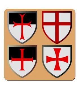 Aimant 4 Croix de Templiers (7,4 x 7,4 cm.)