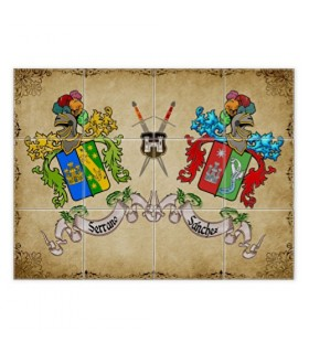 Les Carreaux de mosaïque armoiries 2 noms de famille (avec en arrière-plan)